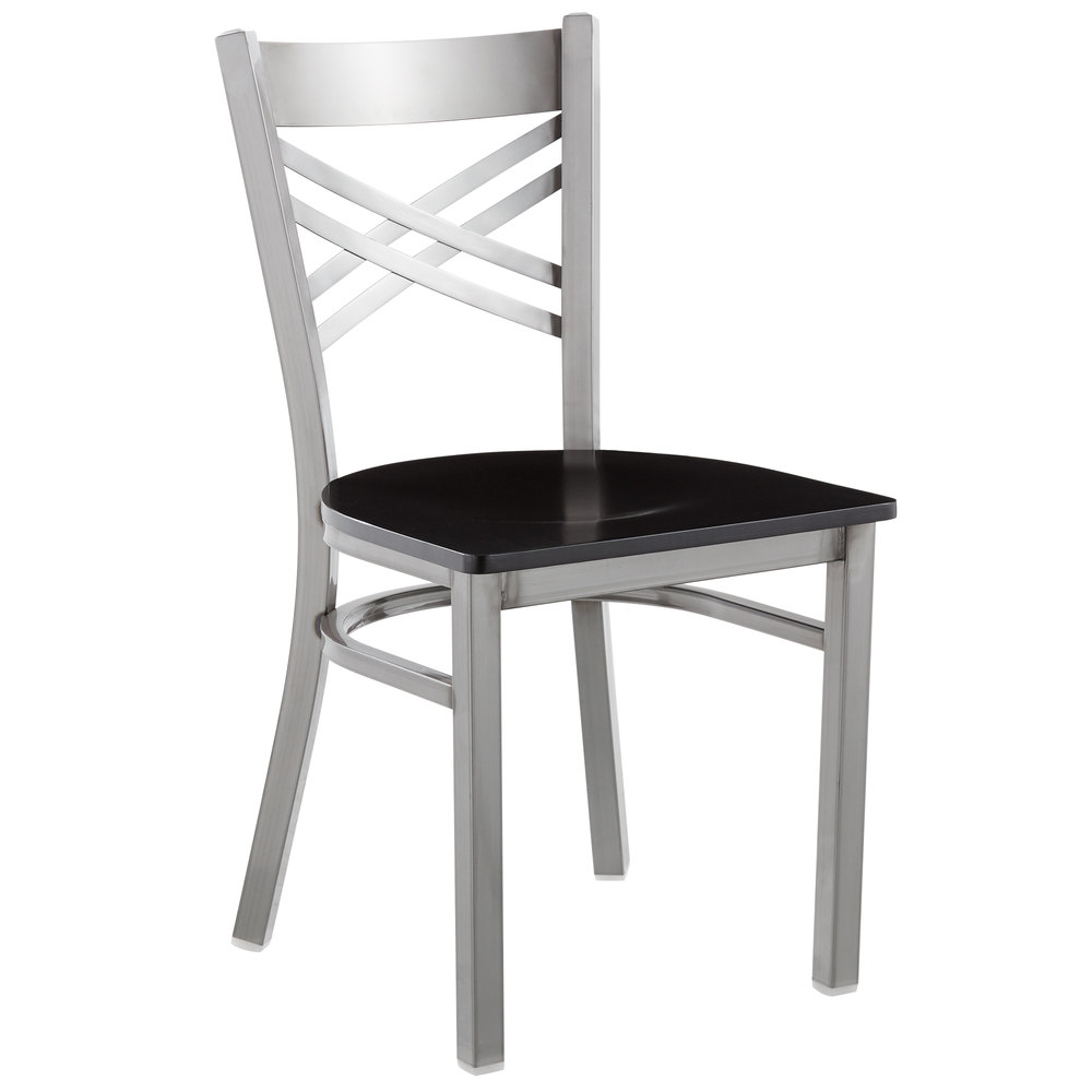 #128 - Clear Coat Steel Cross Back Restaurant Chair with Black Wood Seat