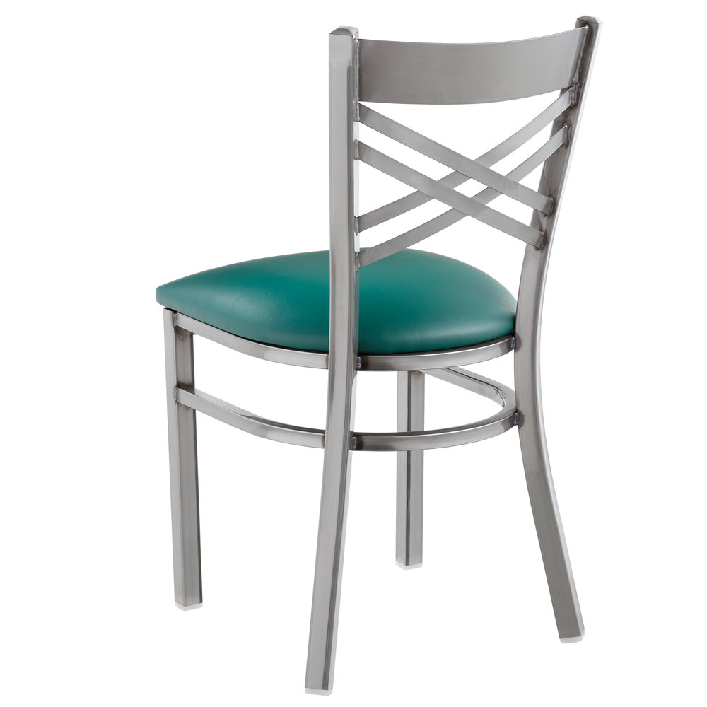 #126 - Clear Coat Steel Cross Back Restaurant Chair with Green Vinyl Padded Seat