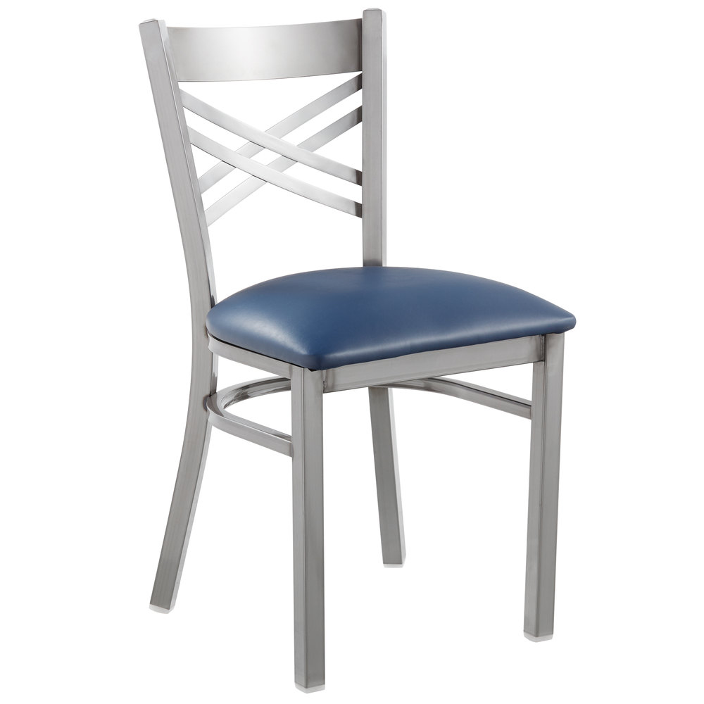 #127 - Clear Coat Steel Cross Back Restaurant Chair with Navy Vinyl Padded Seat