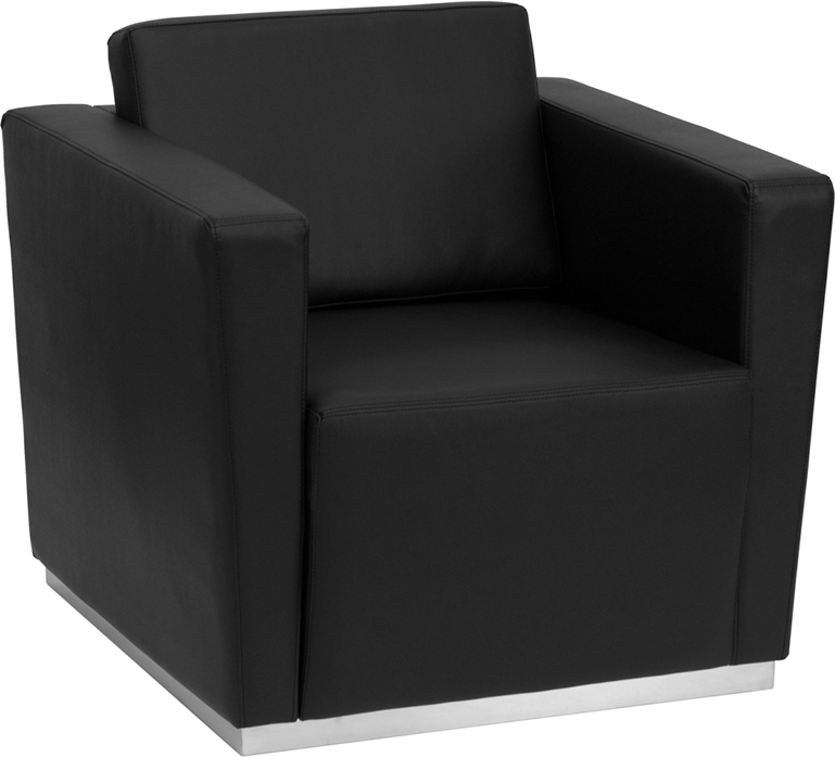 #87 - TRINITY SERIES CONTEMPORARY BLACK LEATHER CHAIR WITH STAINLESS STEEL BASE