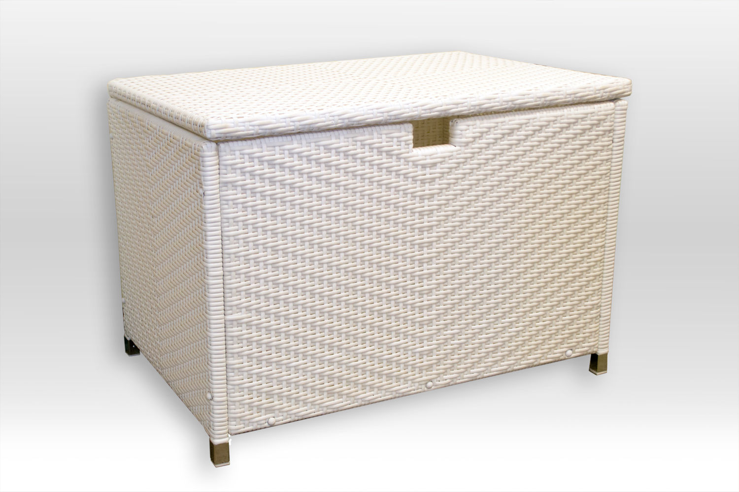 #203 - Medium Size White Resin Wicker Storage Box - For Indoor or Outdoor Use