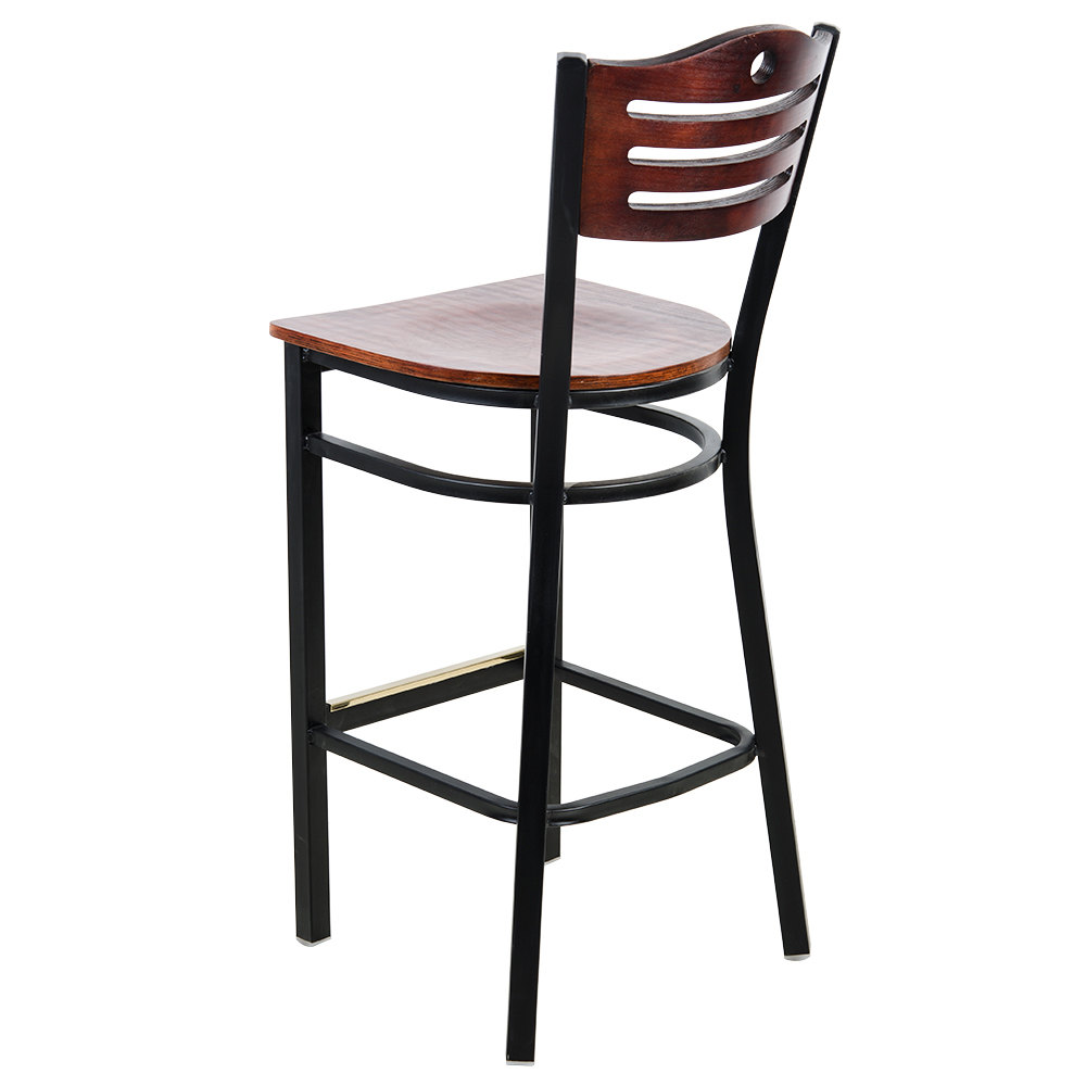 #228 - Black Slat Back Metal Restaurant Barstool with Mahogany Wood Seat And Back