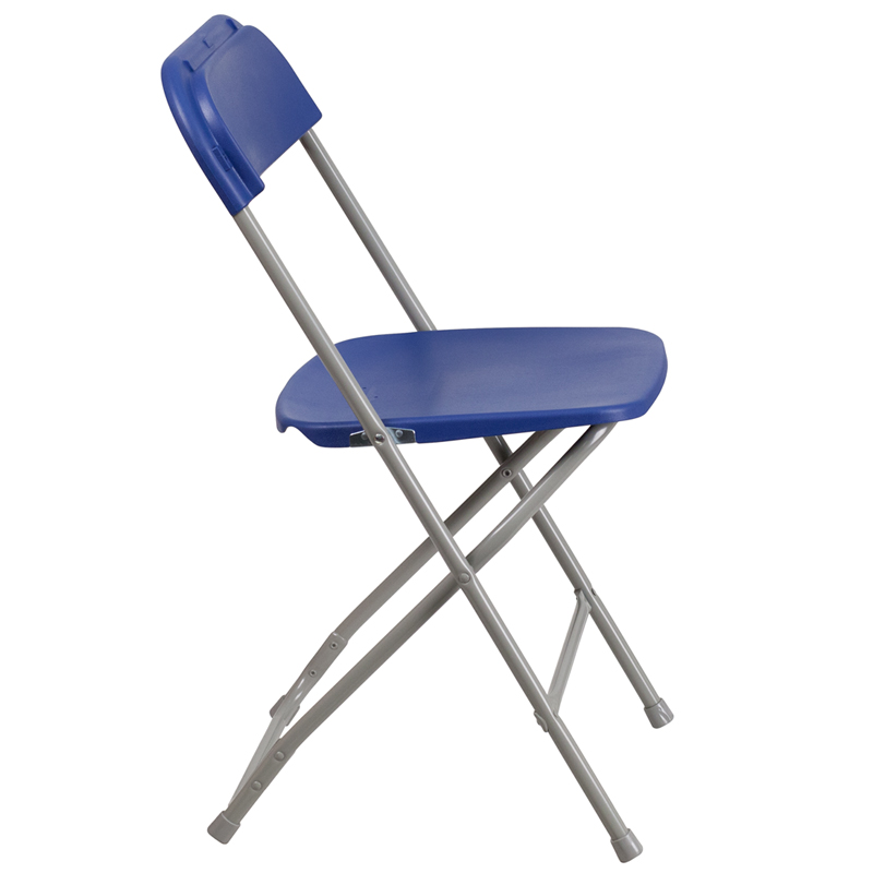 #14 - 225 LB. PLASTIC FOLDING CHAIR BLUE COLOR