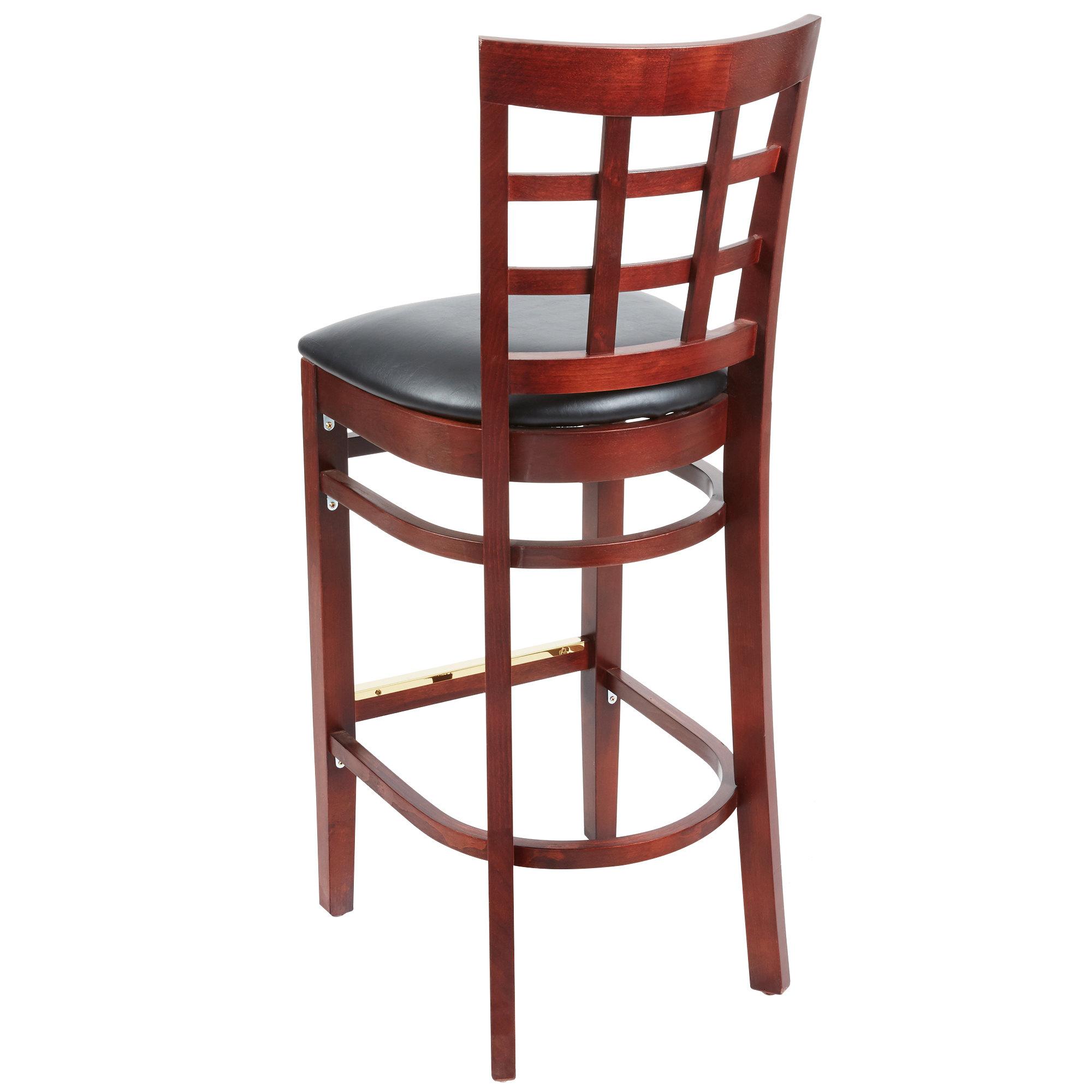 #63 - Mahogany Wood Finished Window Back Restaurant Barstool with Black Vinyl Seat