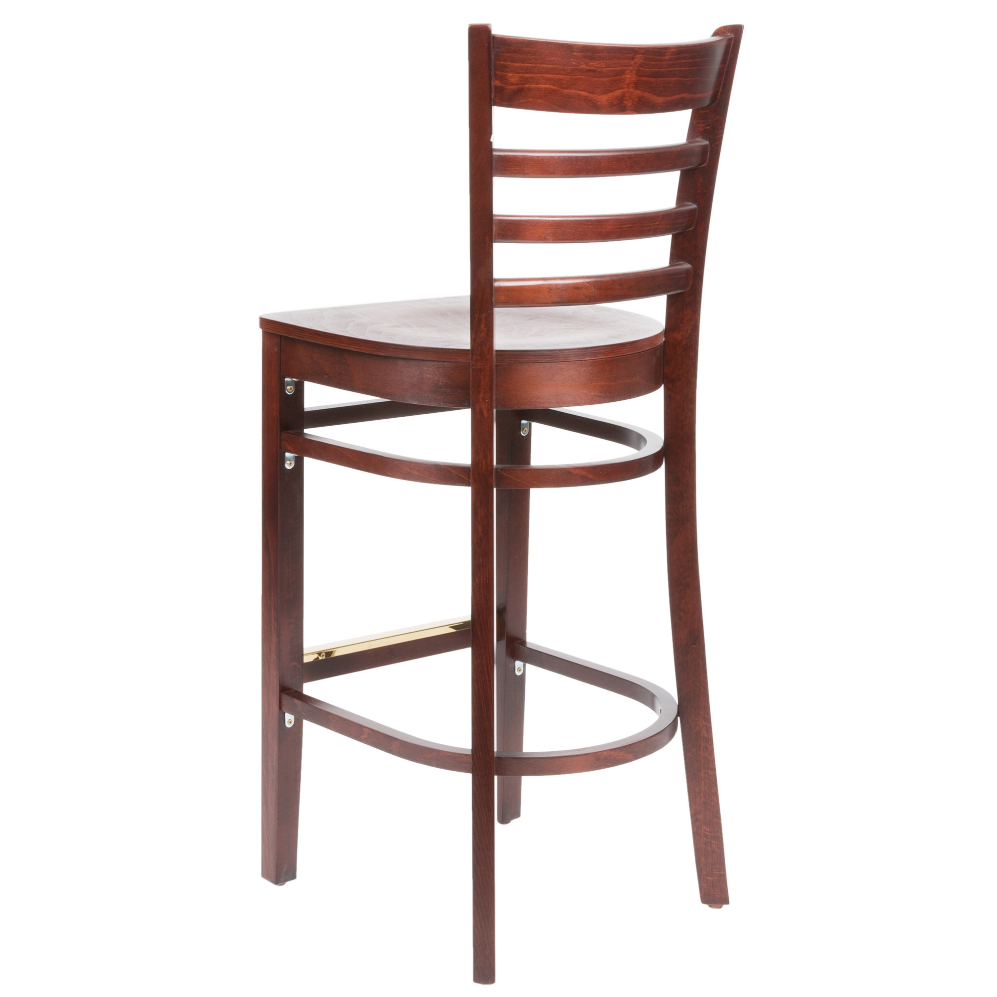 #61 - Mahogany Wood Finished Ladder Back Restaurant Barstool