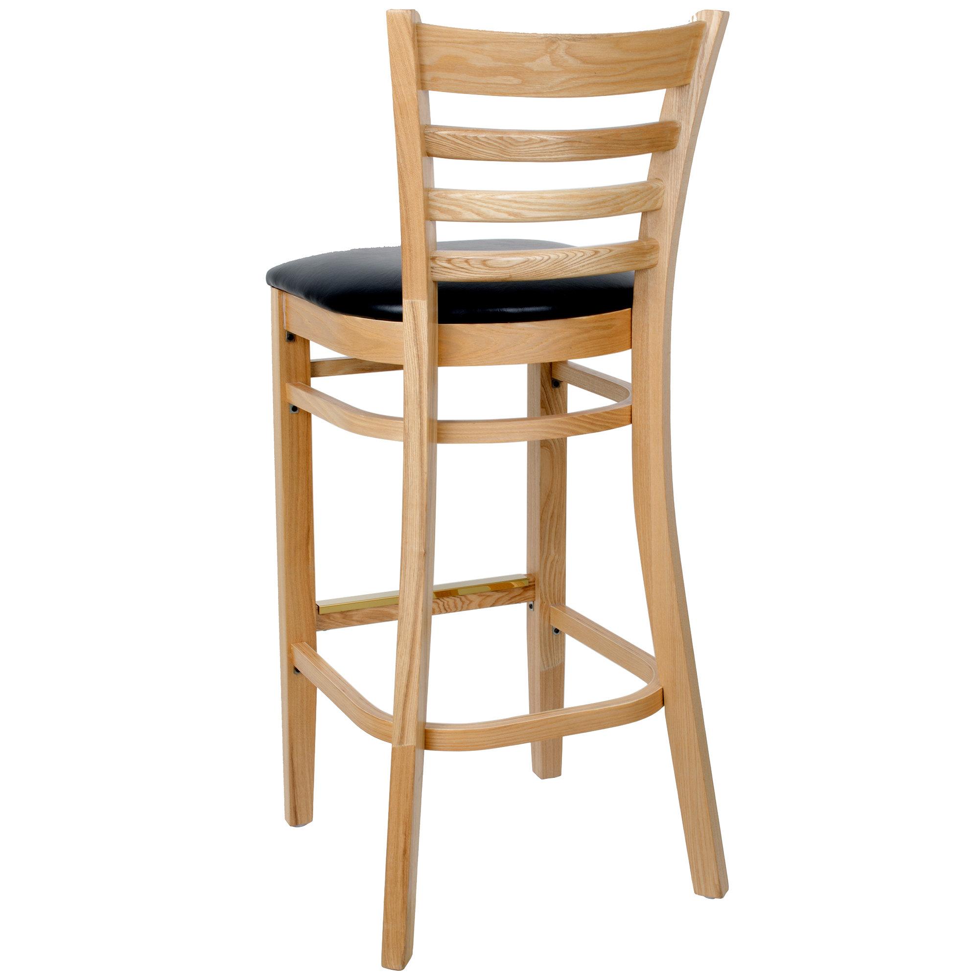 #60 - Natural Wood Finished Ladder Back Restaurant Barstool with Black Vinyl Seat