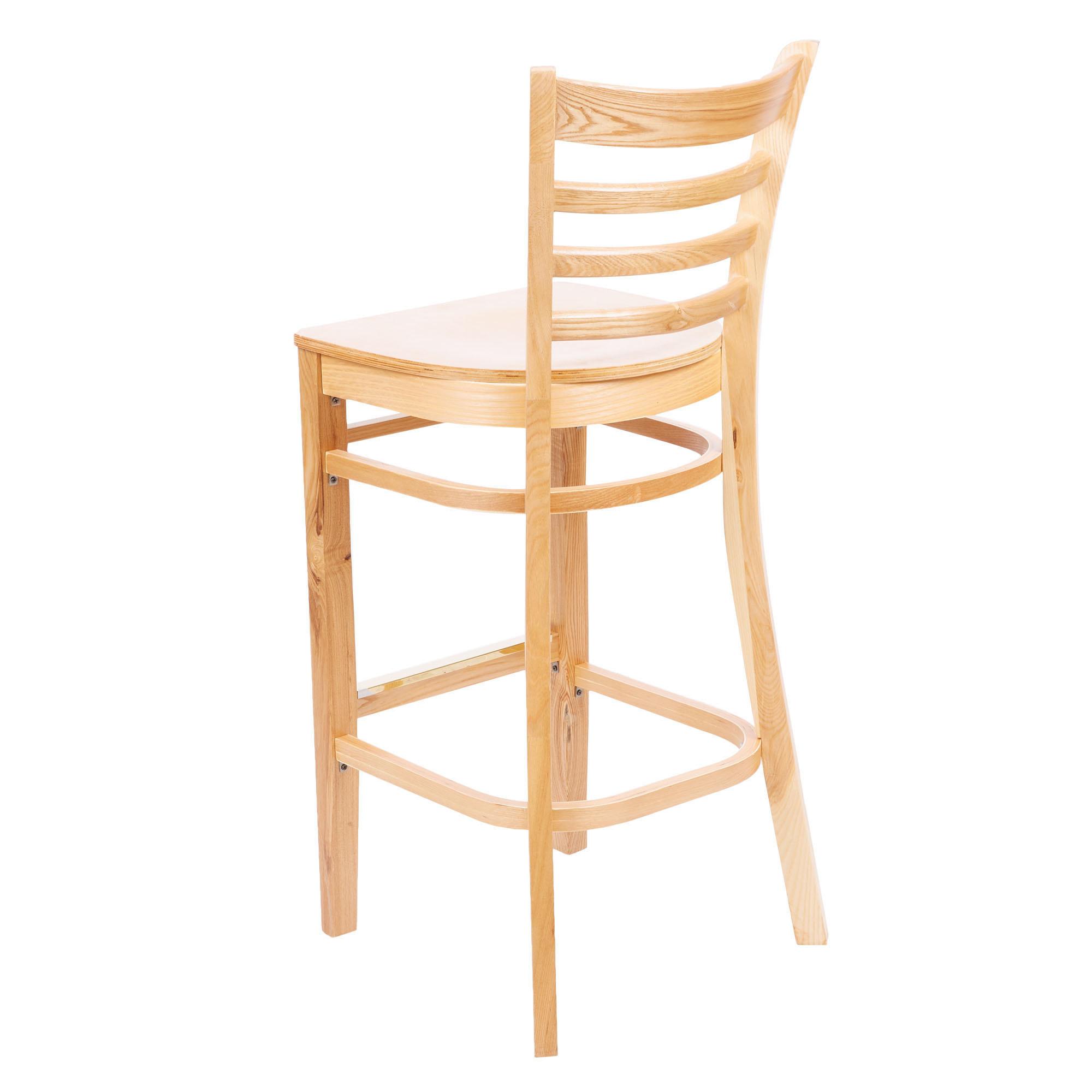 #62 - Natural Wood Finished Ladder Back Restaurant Barstool