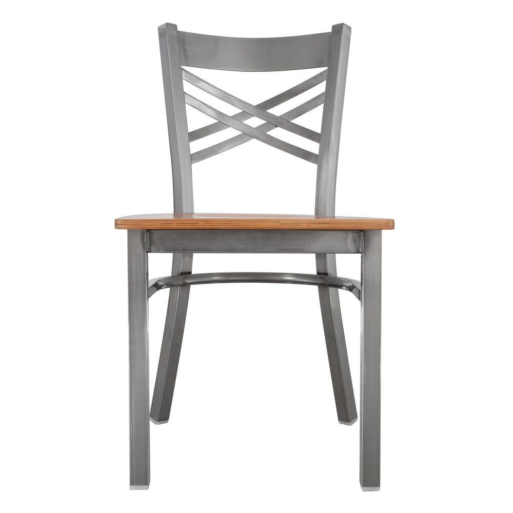 #133 - Clear Coat Steel Cross Back Restaurant Chair with Natural Wood Seat