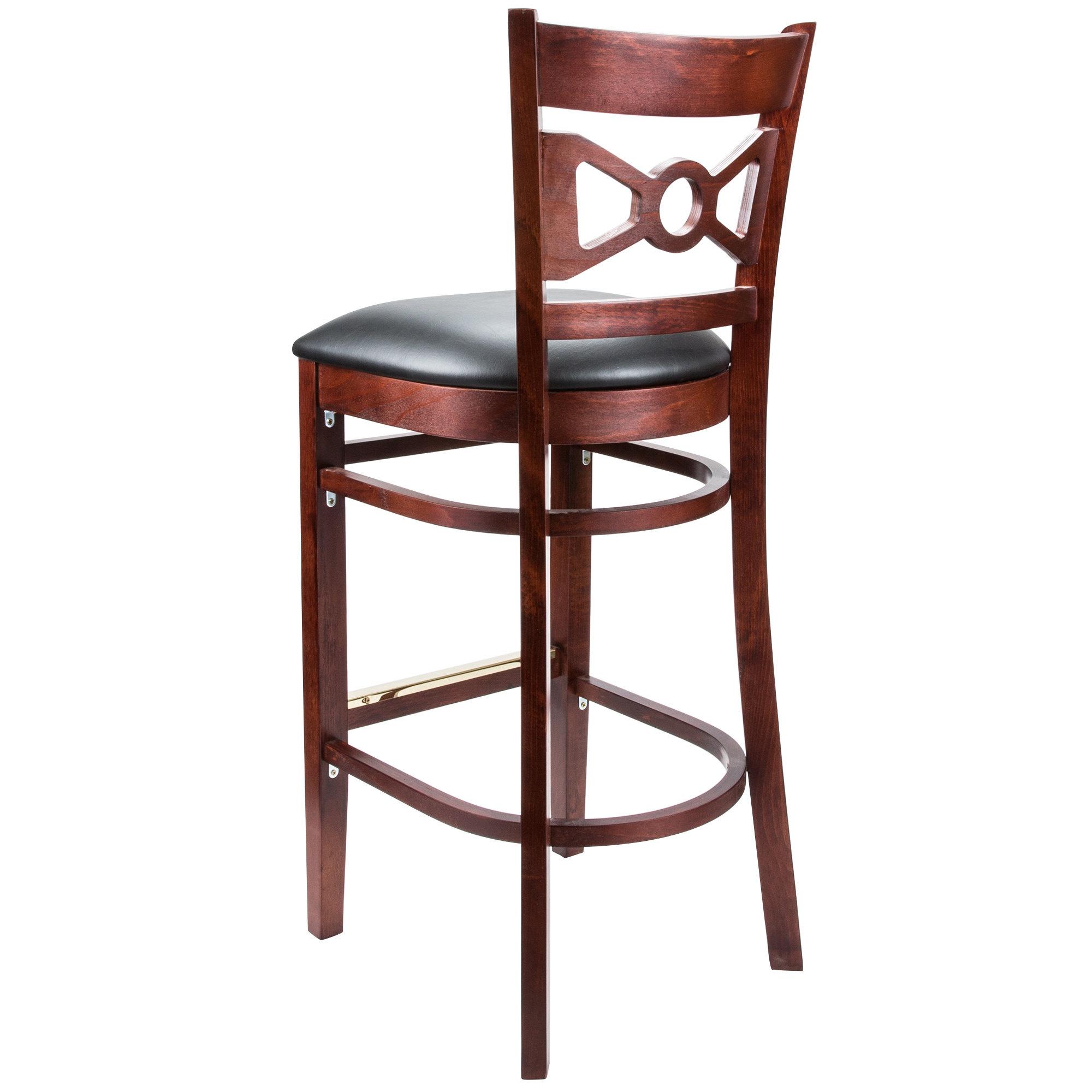 #66 - Mahogany Wood Finished Bow Tie Back Restaurant Barstool with Black Vinyl Seat