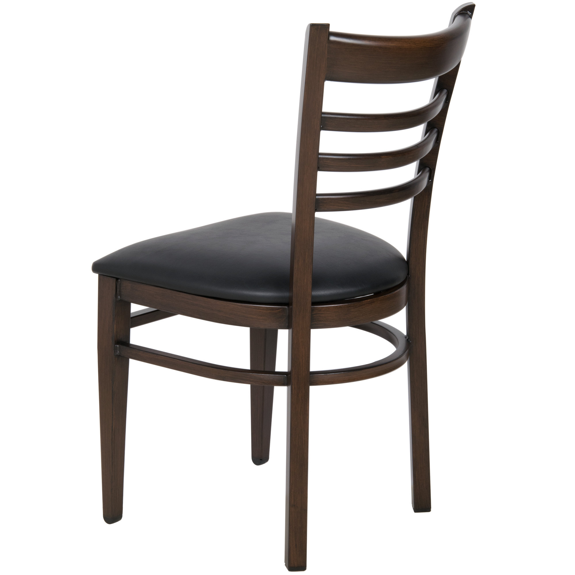 #141 - Ladder Back Design Metal Restaurant Chair with Walnut Wood Grain Finish and Black Vinyl Seat