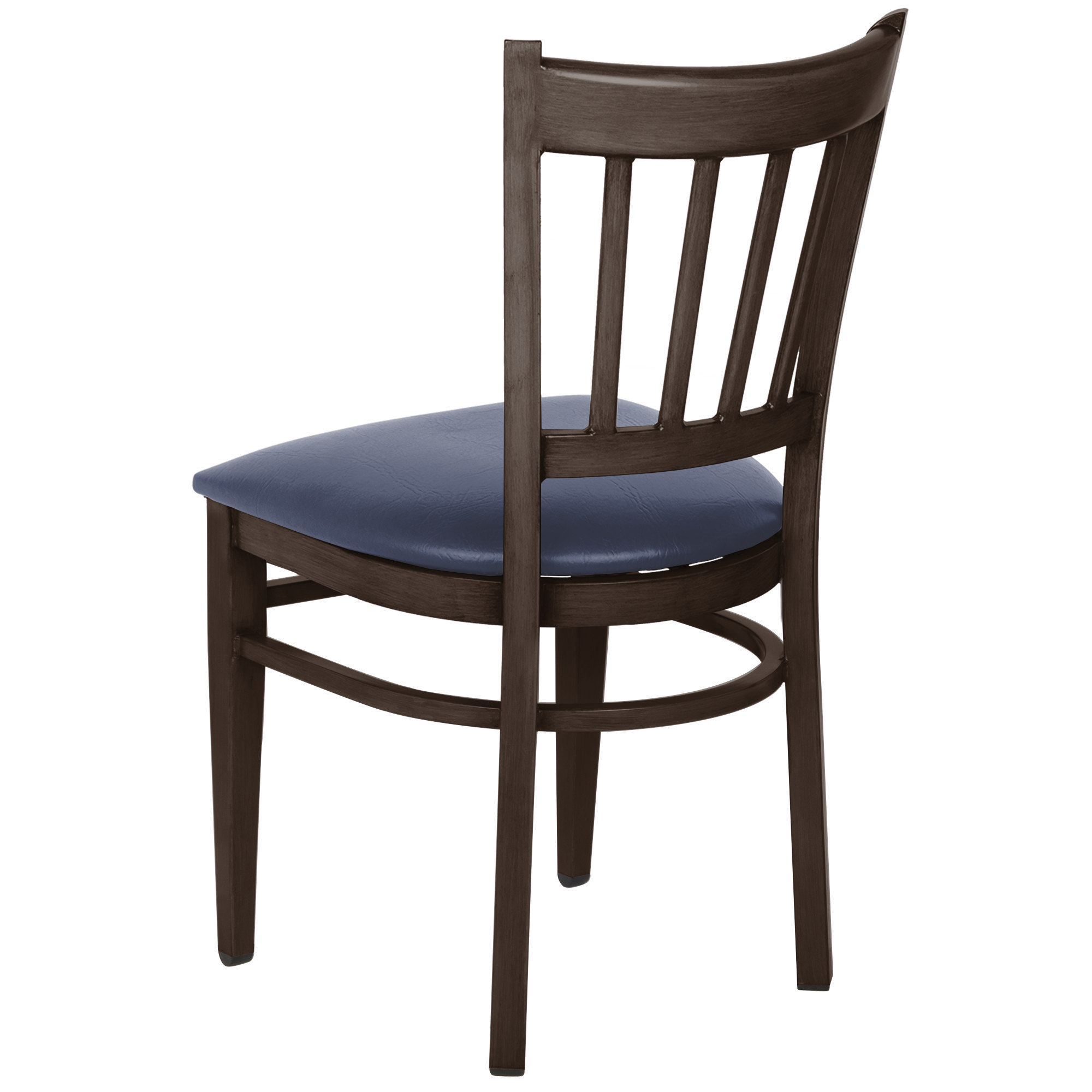 #139 - Slat Back Design Metal Restaurant Chair with Walnut Wood Grain Finish and Navy Vinyl Seat