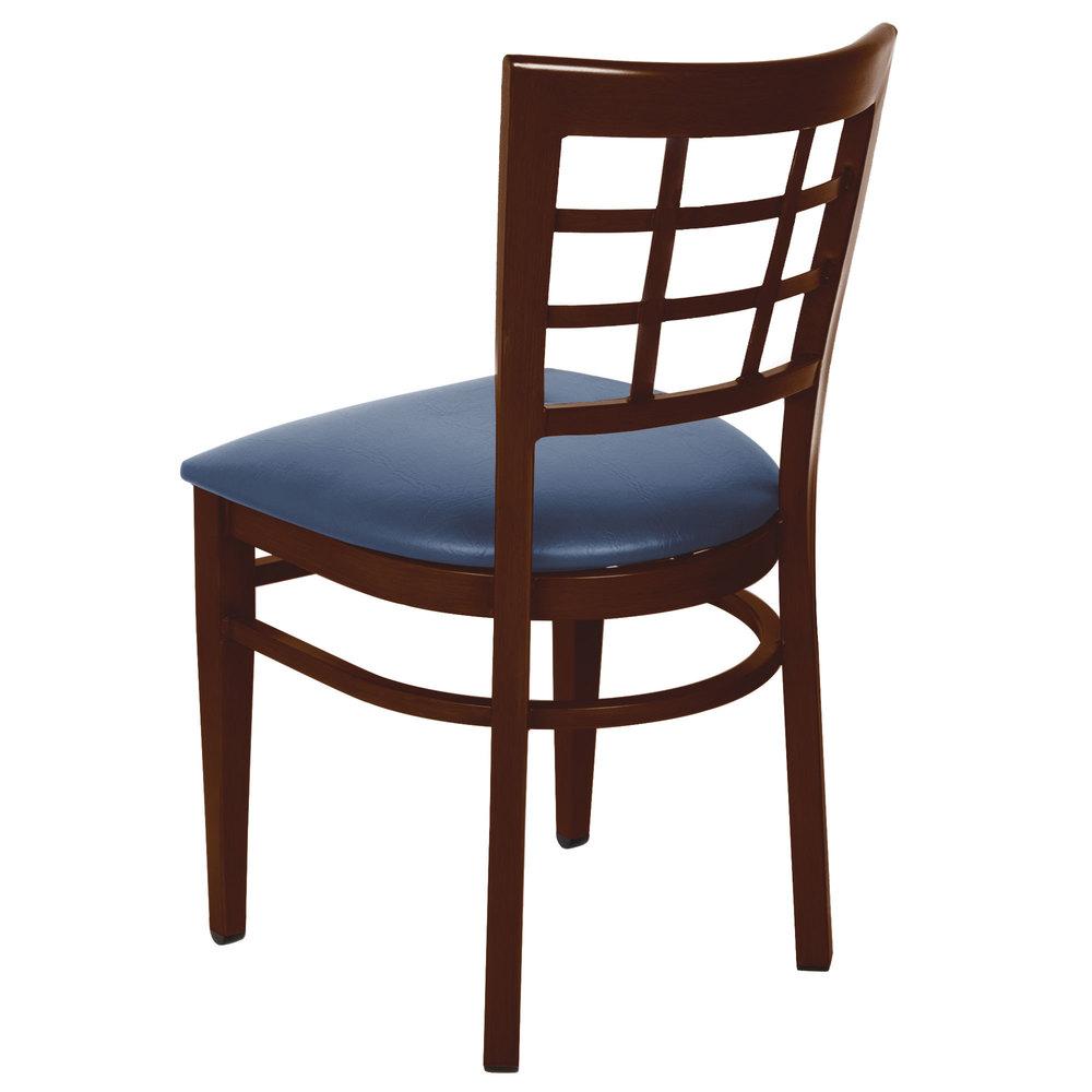 #169 - Window Back Design Metal Restaurant Chair with Walnut Wood Grain Finish and Navy Vinyl Seat