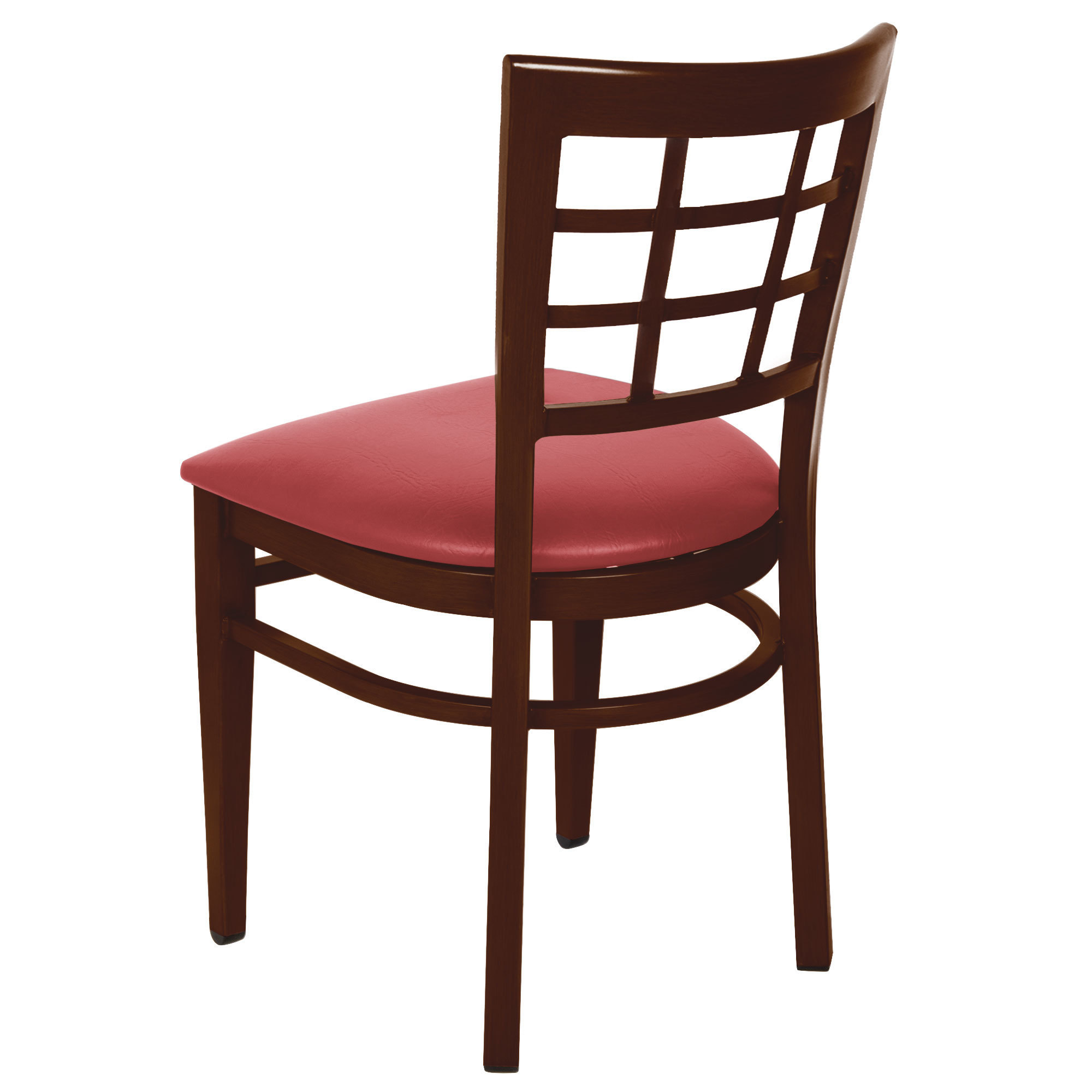 #170 - Window Back Design Metal Restaurant Chair with Walnut Wood Grain Finish and Red Vinyl Seat