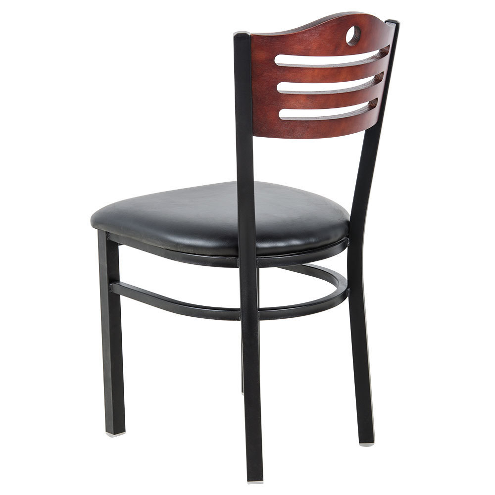 #158 - Slat Back Design Restaurant Metal Chair with Mahogany Wood Back and Black Vinyl Seat