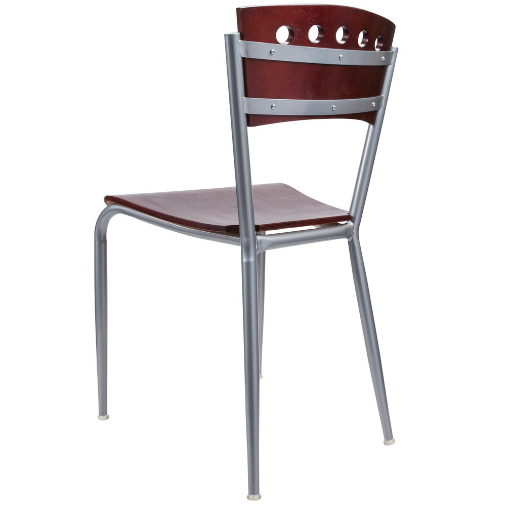 #121 - METAL RESTAURANT CHAIR WITH MAHOGANY WOOD BACK & SEAT
