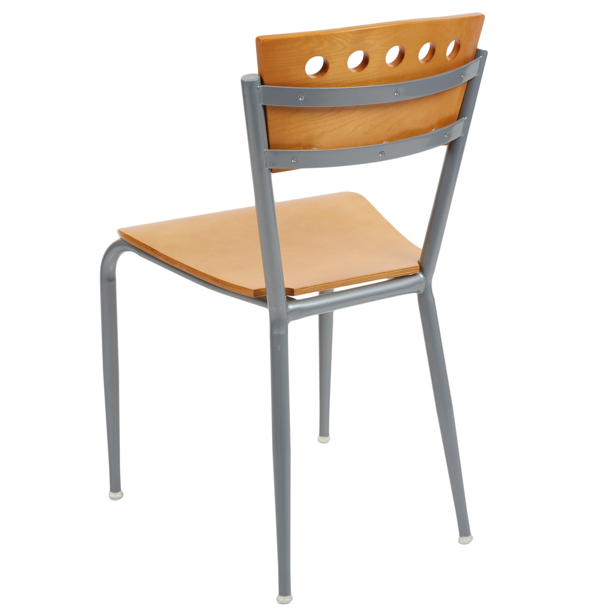 #120 - METAL RESTAURANT CHAIR WITH NATURAL WOOD BACK & SEAT