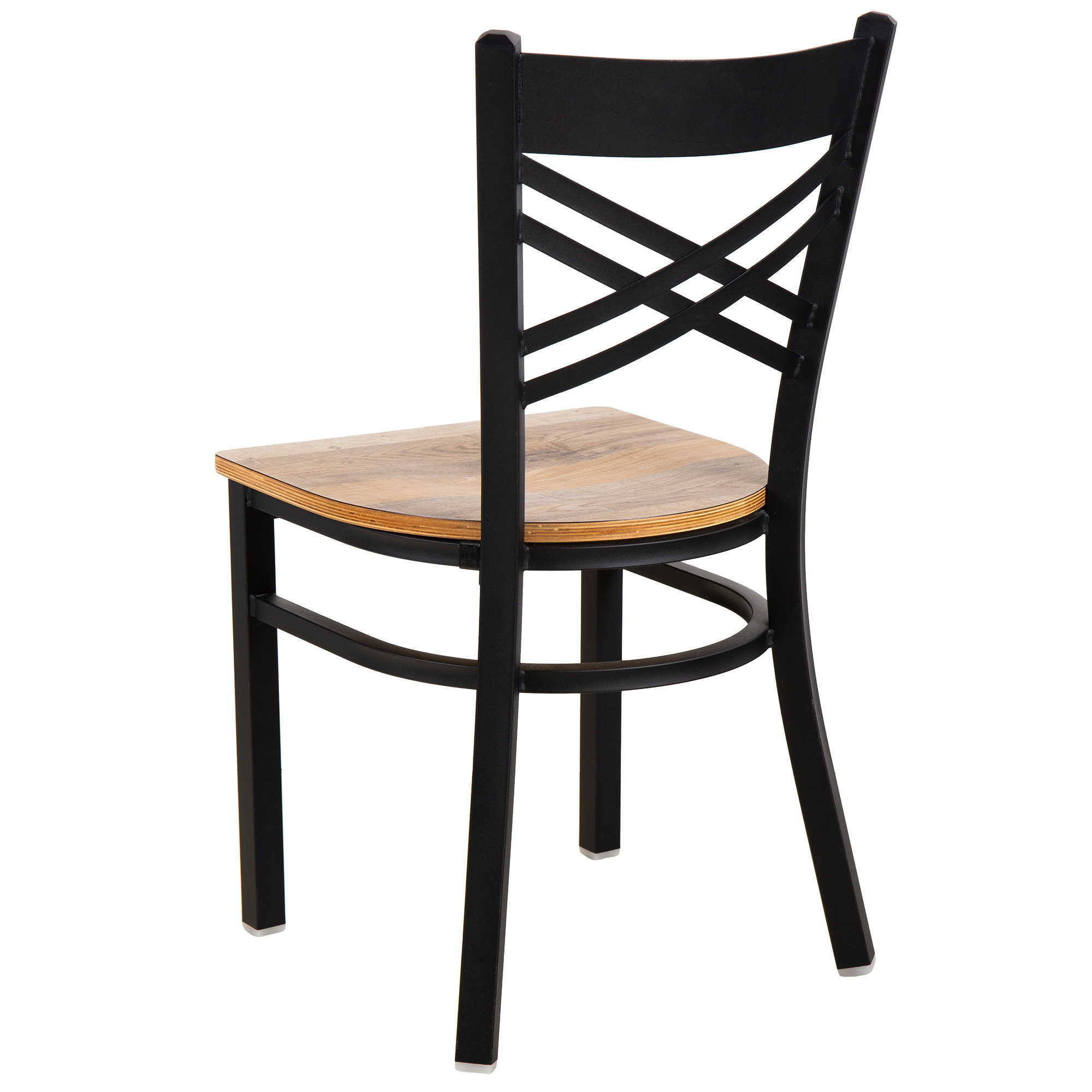 #154 - Black Cross Back Design Restaurant Metal Chair with Driftwood Wood Seat
