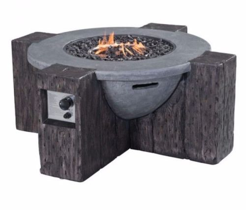 #205 - Outdoor Modern Propane Power Fire Pit in Gray Concrete Fiber Finish & Faux Wood