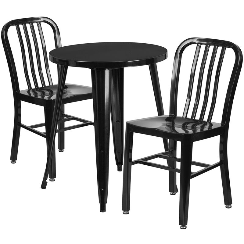 #1 - 24'' Round Black Metal Indoor-Outdoor Restaurant Table Set with 2 Vertical Slat Back Chairs