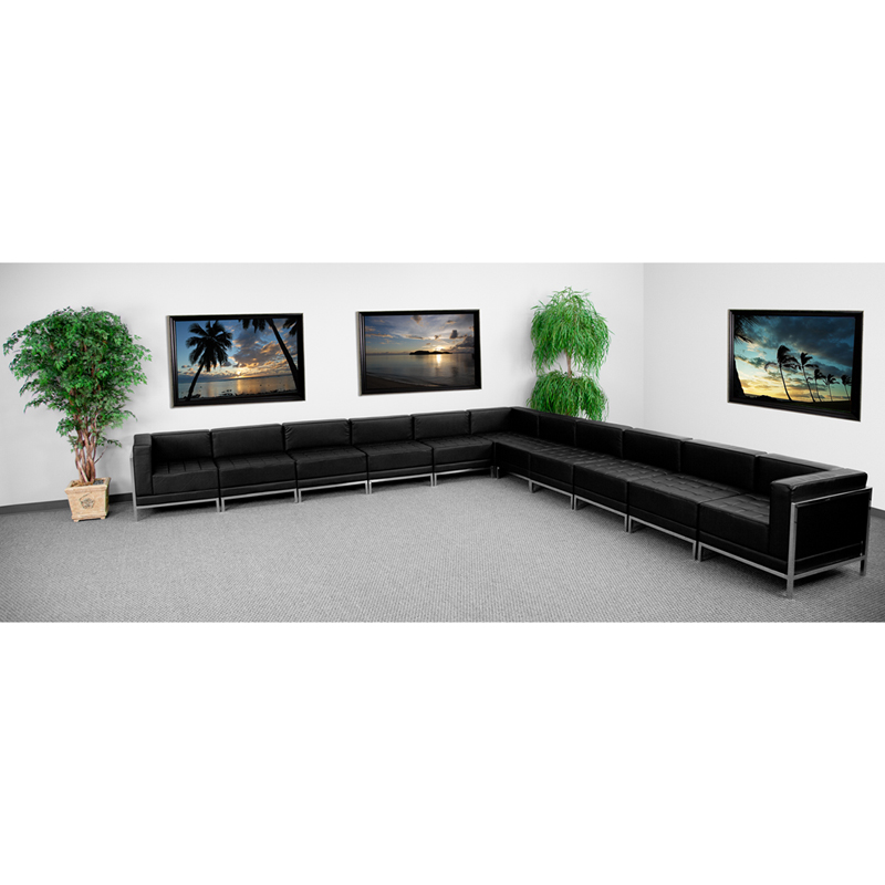 #55 - 11 Piece Imagination Series Black Leather Sectional Configuration