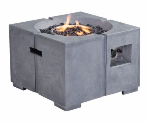 #206 - Outdoor Modern Dante Propane Powered Fire Pit in Gray Concrete Fiber Finish