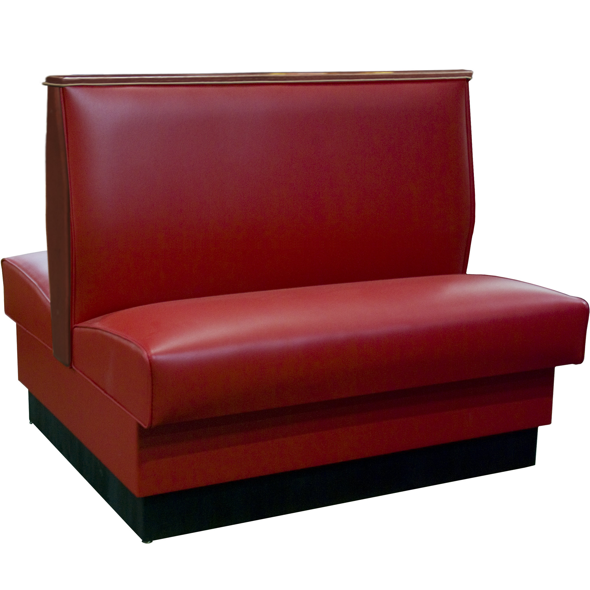 "#34 - 36""H Sangria Plain Double Back Fully Upholstered Booth with Wood End and Top Caps"