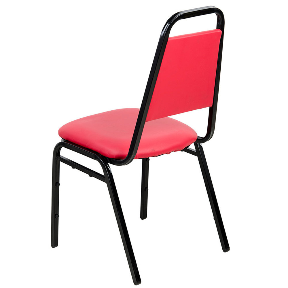"#23 - Trapezoidal Back Stackable Banquet Chair With 1"" Red Vinyl Seat"