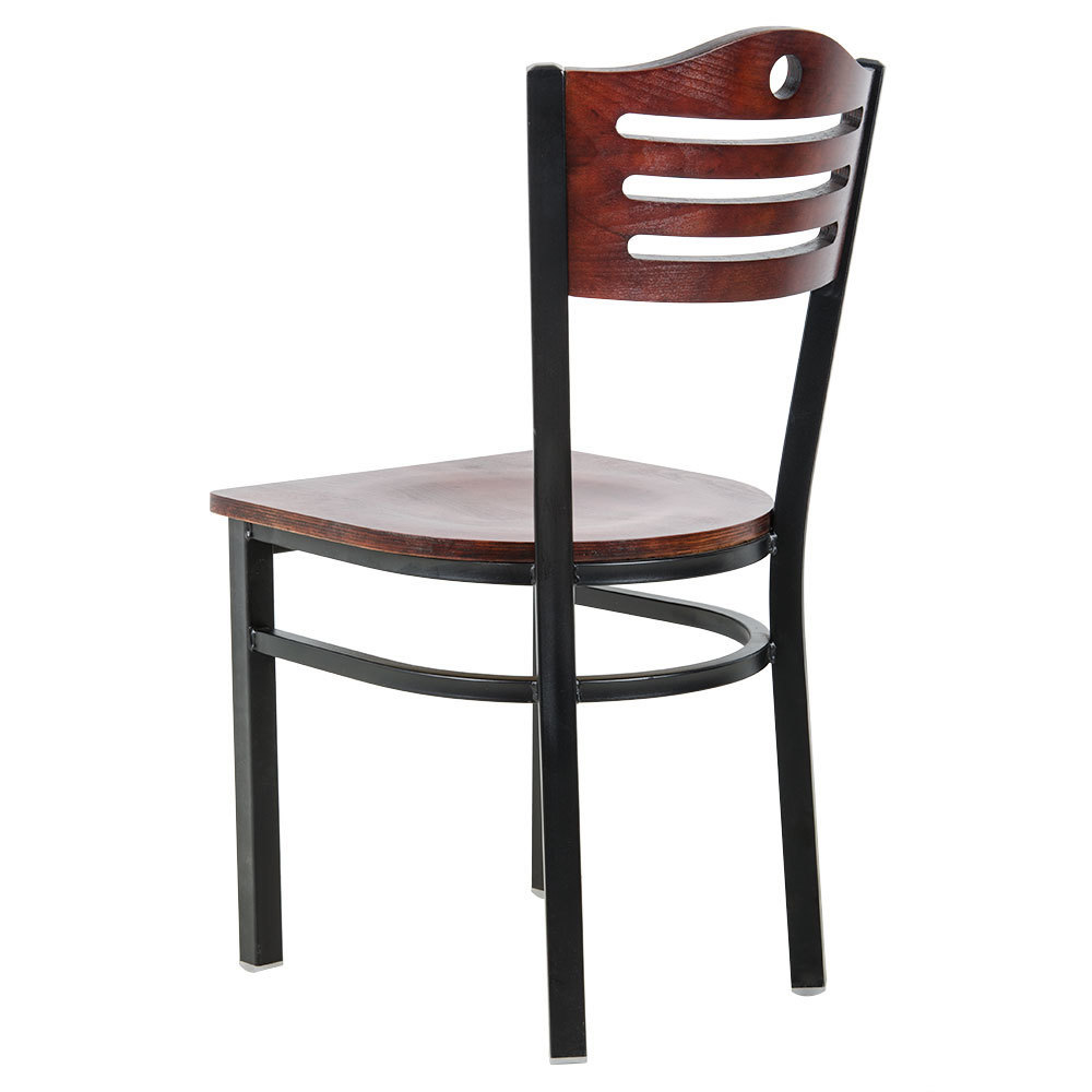 #186 -Black Slat Back Metal Restaurant Chair with Mahogany Wood Seat And Back