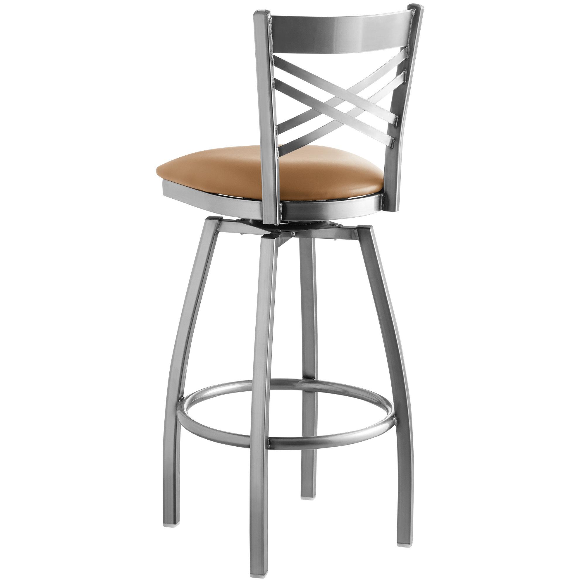 #206 - Cross Back Clear Coat Swivel Restaurant Barstool with Light Brown Vinyl Seat