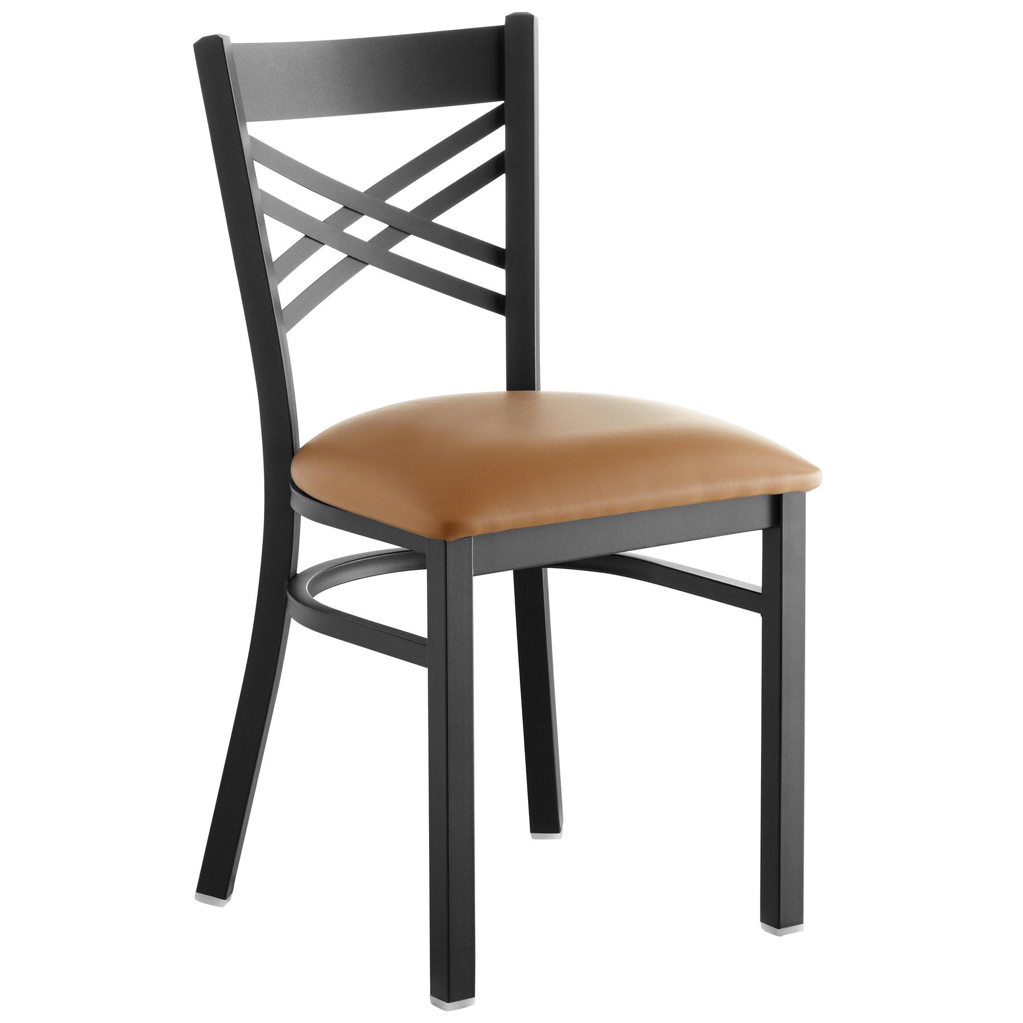 #149 - Black Cross Back Design Restaurant Metal Chair with Light Brown Vinyl Seat