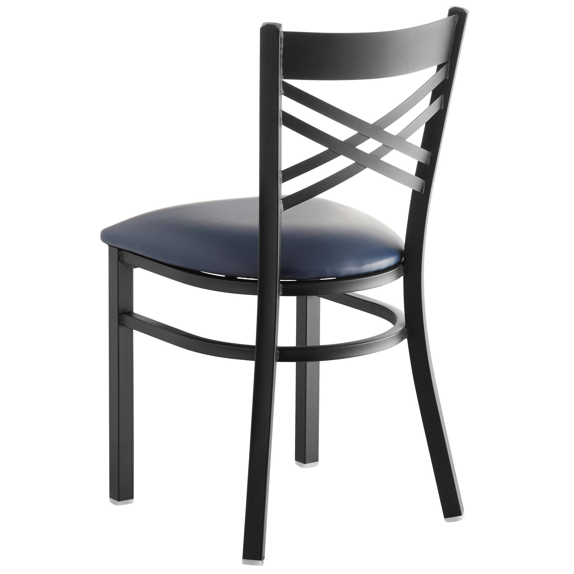#151 - Black Cross Back Design Restaurant Metal Chair with Navy Vinyl Seat