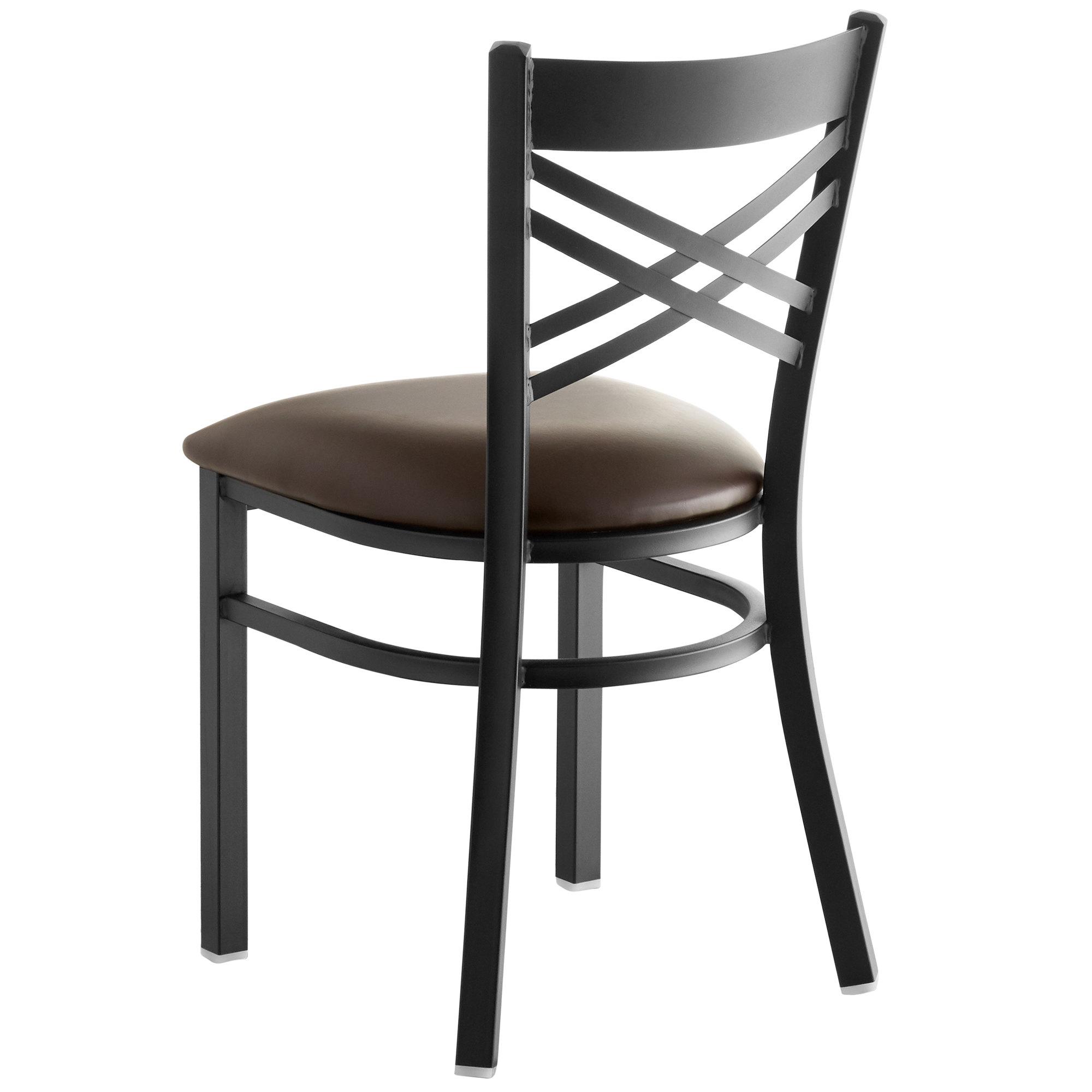 #148 - Black Cross Back Design Restaurant Metal Chair with Dark Brown Vinyl Seat