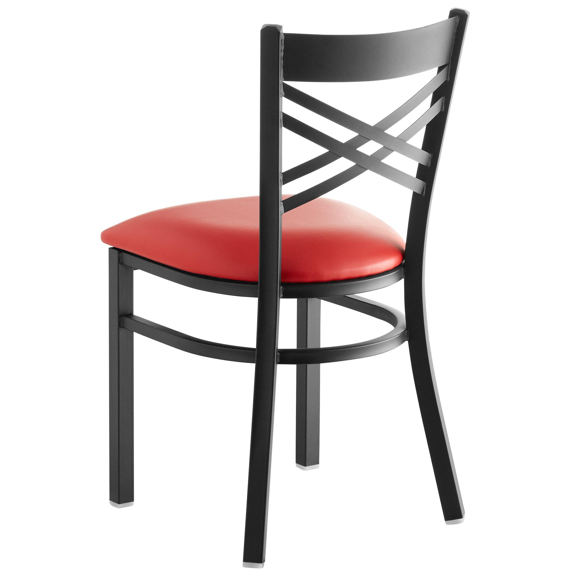 #152 - Black Cross Back Design Restaurant Metal Chair with Red Vinyl Seat