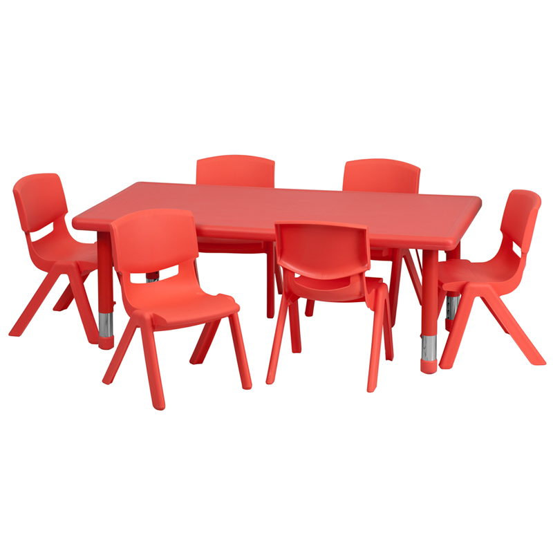 #6 - 24''W X 48''L ADJUSTABLE RECTANGULAR RED PLASTIC ACTIVITY TABLE SET WITH 6 SCHOOL STACK CHAIRS