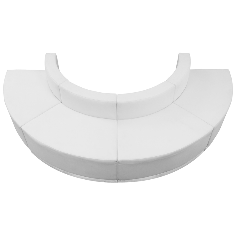 #72 -  LOUNGE SERIES WHITE LEATHER RECEPTION CONFIGURATION, 4 PIECES