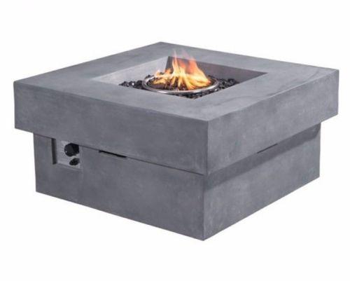#207 - Outdoor Modern Diablo Propane Powered Fire Pit in Gray Concrete Fiber Finish