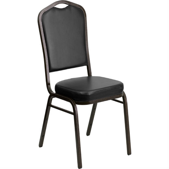 #2 - CROWN BACK BANQUET CHAIR WITH BLACK VINYL AND GOLD VEIN FRAME