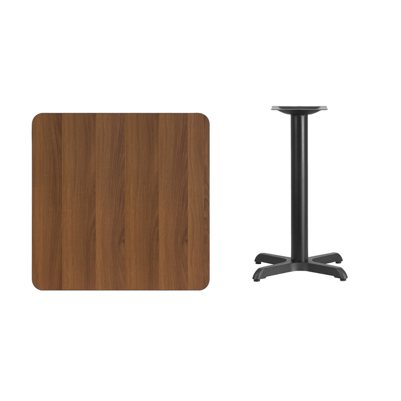 #86 - 30'' SQUARE WALNUT LAMINATE TABLE TOP WITH 22'' X 22'' TABLE HEIGHT BASE