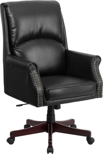 #60 - Traditional High Black Pillow Back Black Leather Executive Swivel Office Chair