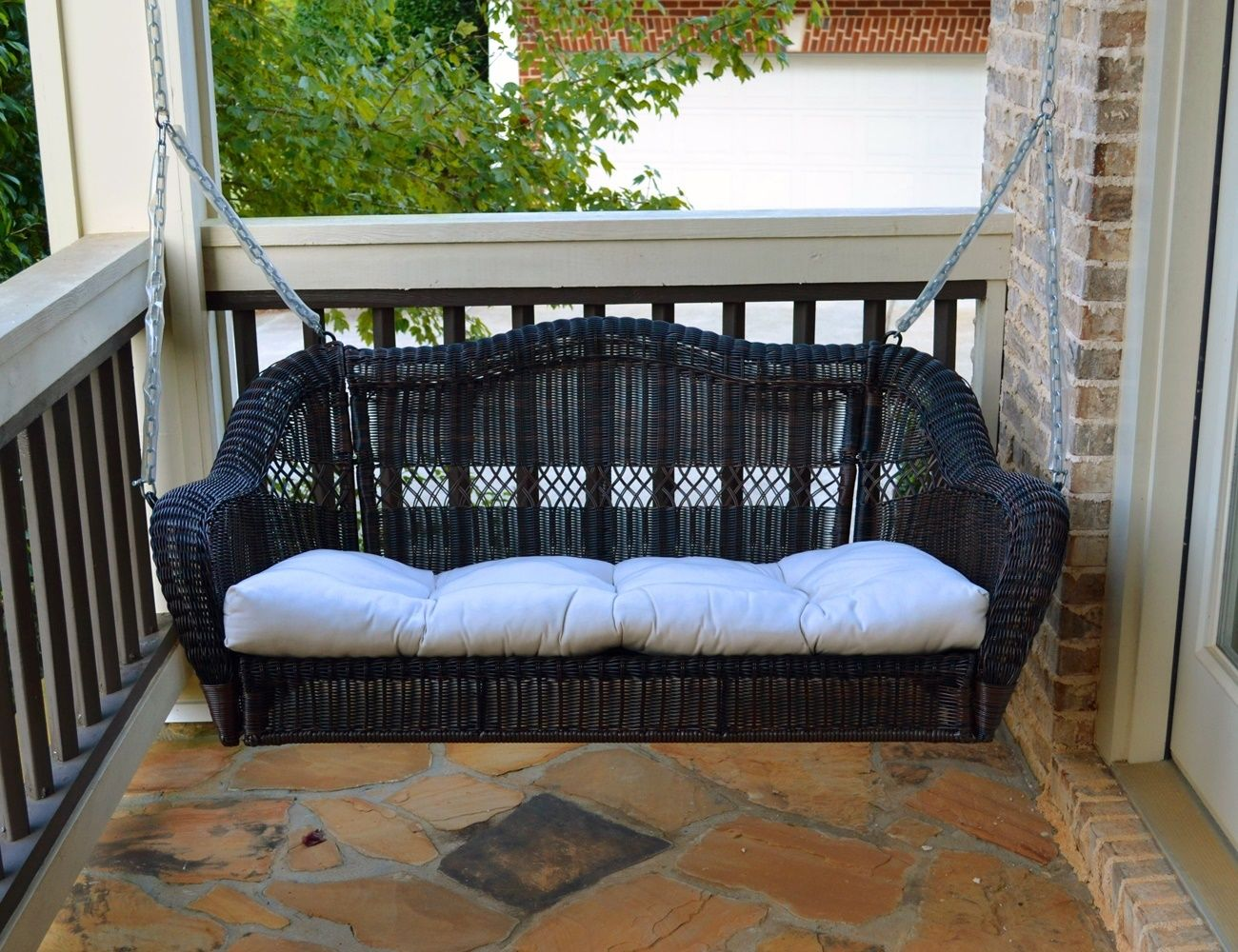 #211 - Beautiful Outdoor Portside Porch Swing in Dark Roast All Weather Resin Wicker