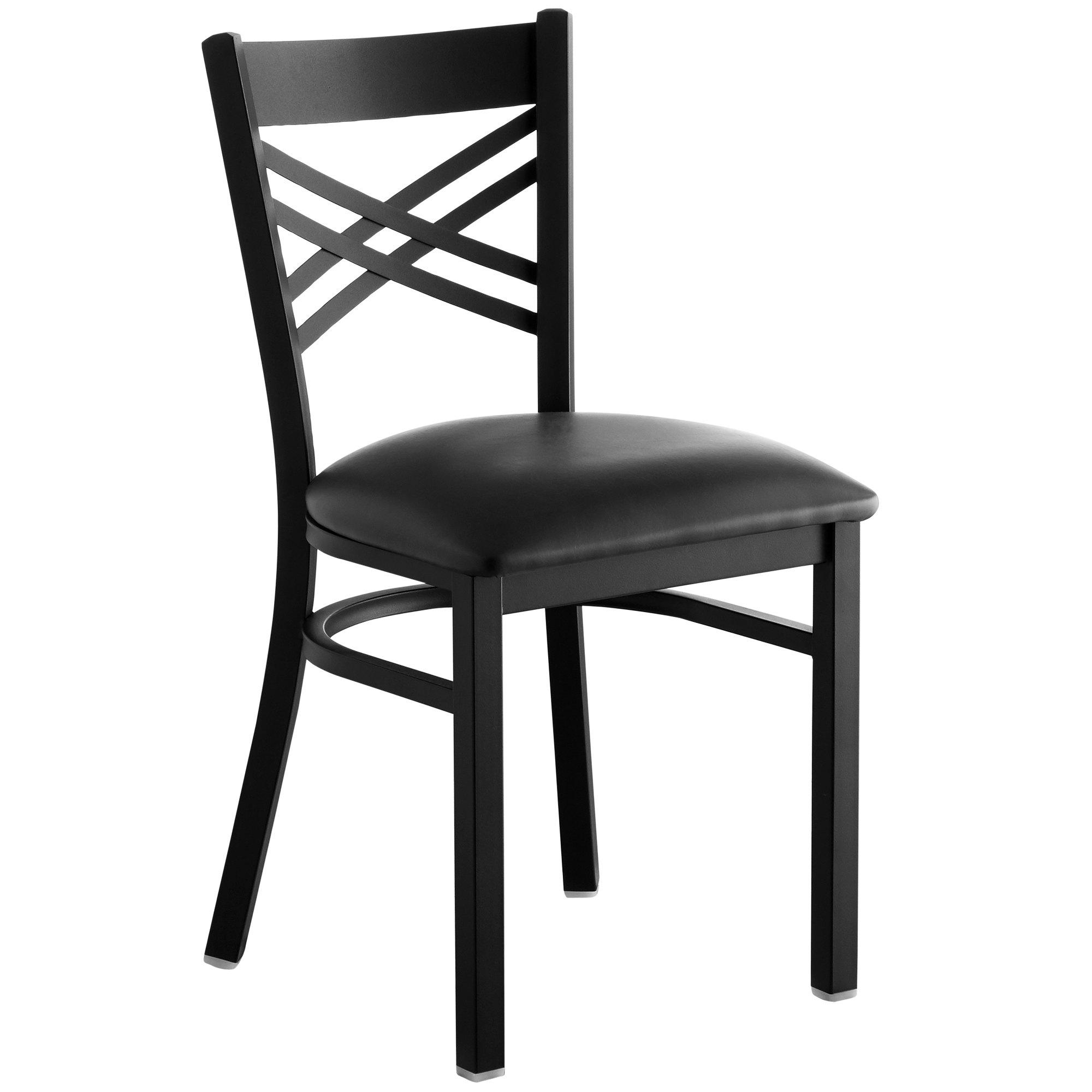 #146 - Black Cross Back Design Restaurant Metal Chair with Black Vinyl Seat