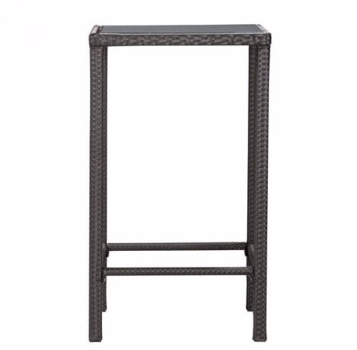 #210 - Elegant Modern Style Pub Table in Espresso Finish Weave w/Tempered Glass Top