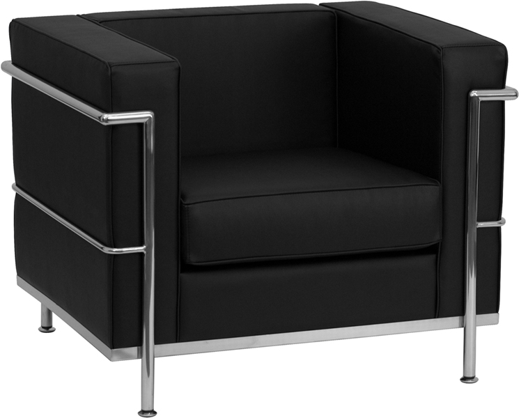 #88 - REGAL SERIES CONTEMPORARY BLACK LEATHER CHAIR WITH ENCASING FRAME