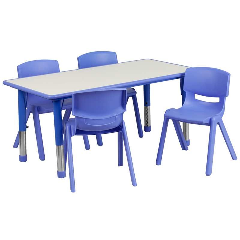 #7 - 23.625''W X 47.25''L ADJUSTABLE RECTANGULAR BLUE PLASTIC ACTIVITY TABLE SET WITH 4 SCHOOL STACK CHAIRS