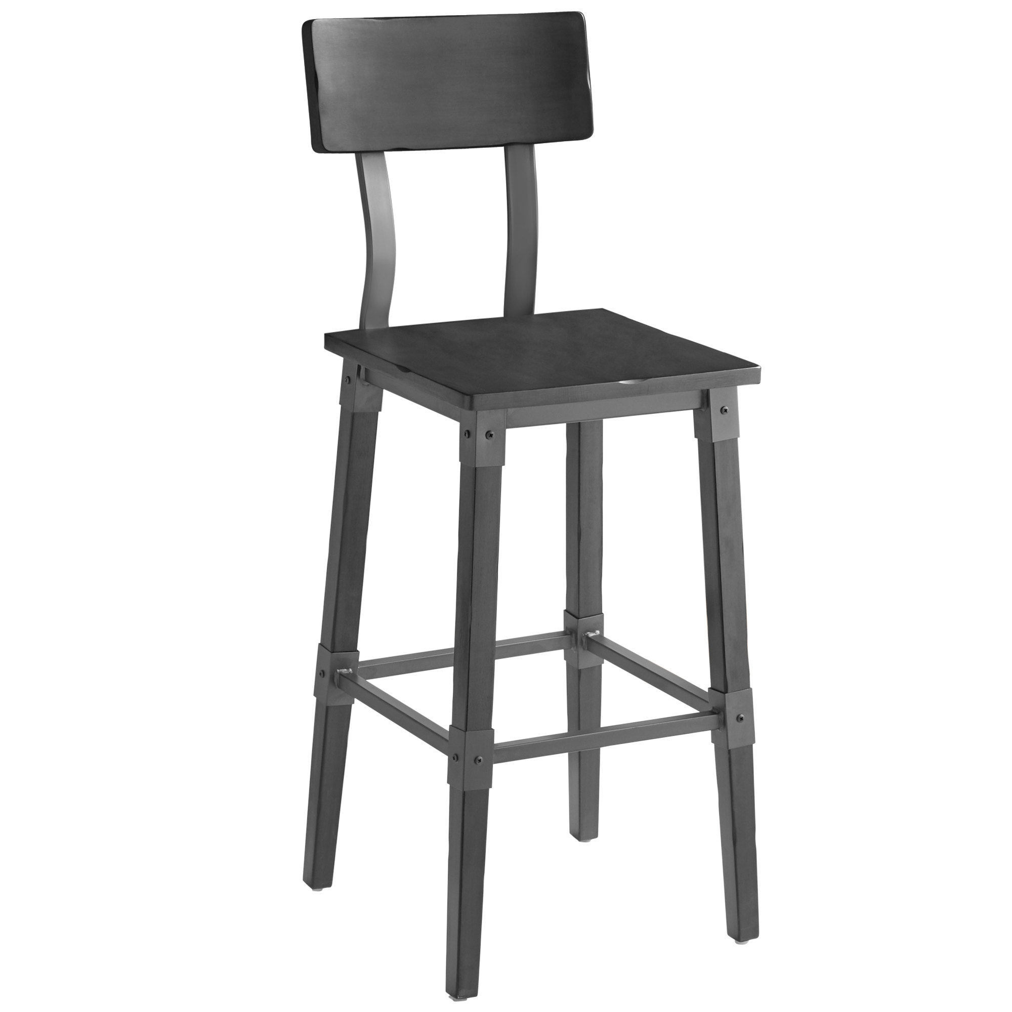 #78 - Rustic Industrial Style Bar Height Chair with Slate Gray Finish