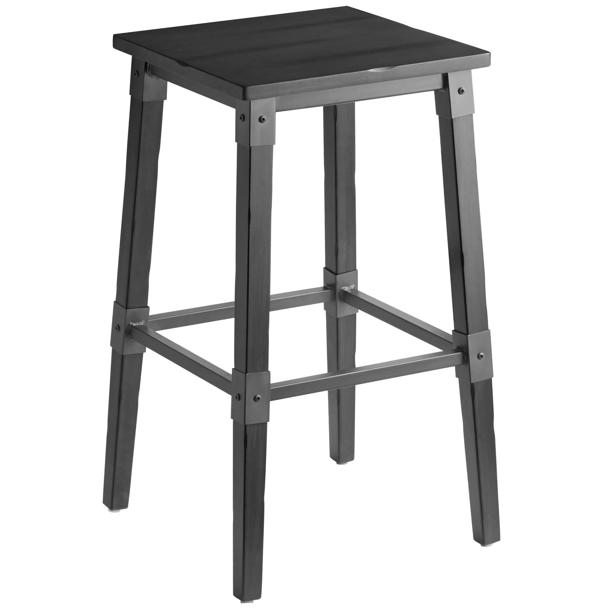 #73 - Rustic Industrial Style Backless Bar Stool with Slate Gray Finish