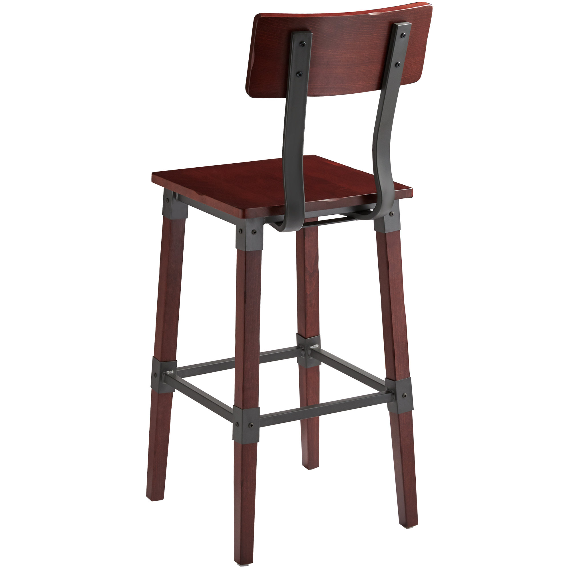 #79 - Rustic Industrial Style Bar Height Chair with Mahogany Finish