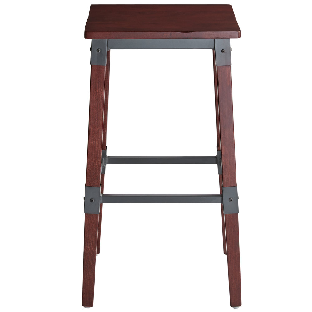 #74 - Rustic Industrial Style Backless Bar Stool with Mahogany Finish