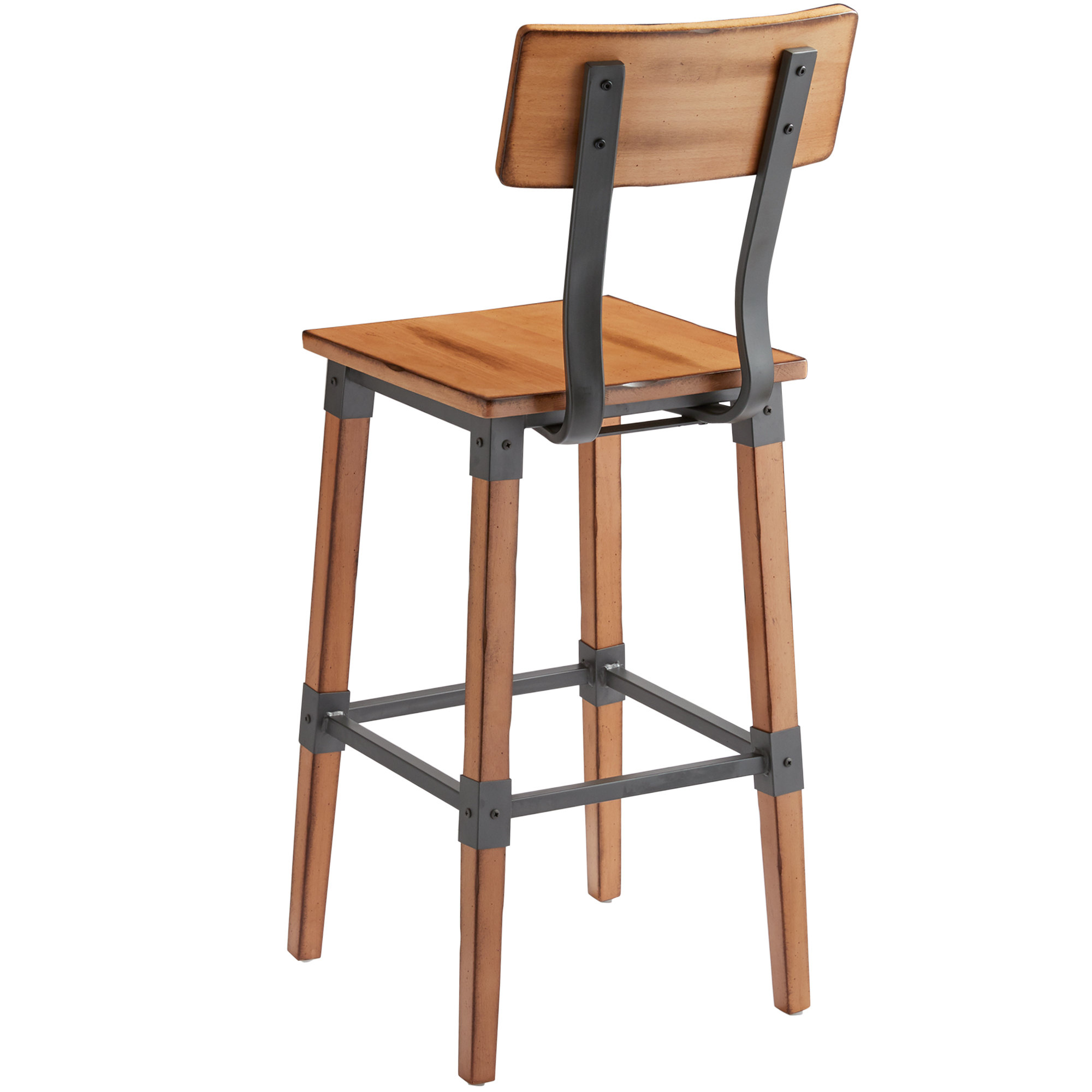 #80 - Rustic Industrial Style Bar Height Chair with  Antique Natural Finish