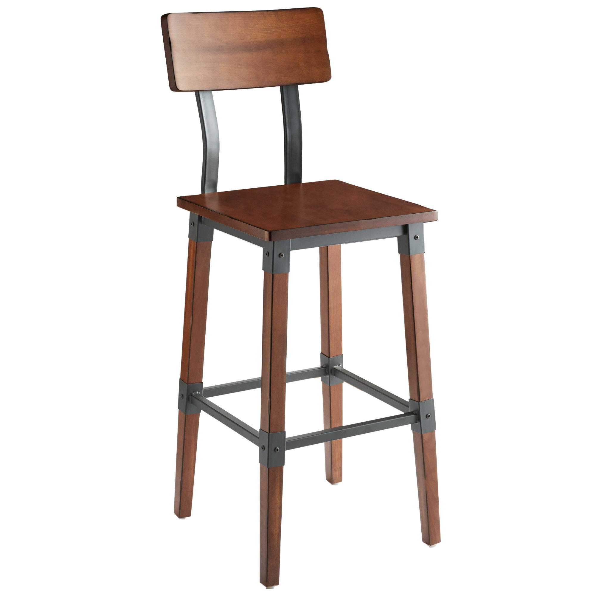 #77 - Rustic Industrial Style Bar Height Chair with Antique Walnut Finish